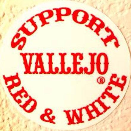 """""""SUPPORT VALLEJO RED & WHITE"""" ROUND STICKER"""