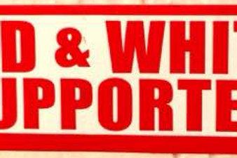 """""""RED & WHITE SUPPORTER"""" STICKER```"""