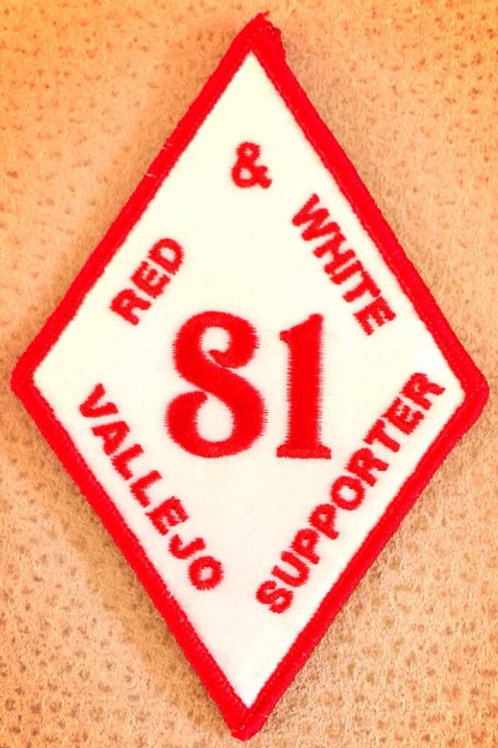 """81 RED & WHITE VALLEJO SUPPORTER"" DIAMOND PATCH"