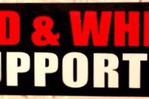 """""""RED & WHITE SUPPORTER"""" STICKER - BLACK"""