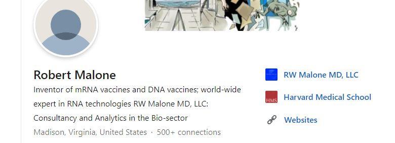 Public Screenshot of Dr. Malone's LinkedIn Profile, 09-07-2021