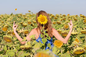Sunflower namaste, positive approach to