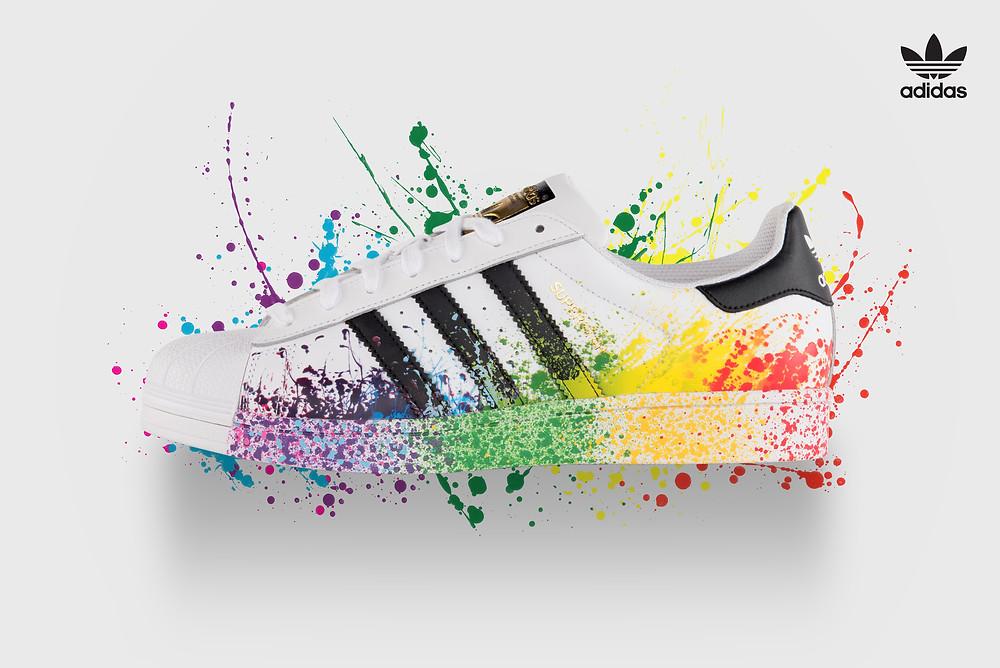 fórmula golf Escupir  Adidas Originals Superstar Pride Pack Shoes D70351 Lgbt Rainbow Paint