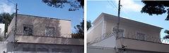 Casa Antes e depois da aplicação de molduras externas, molduras em EPS, moldura de fachada
