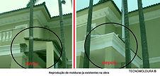 Fachada com moldura antes e depois, molduras externas, molduras isopor