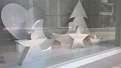 Decoração de vitrines, recortes de isopor para vitrines