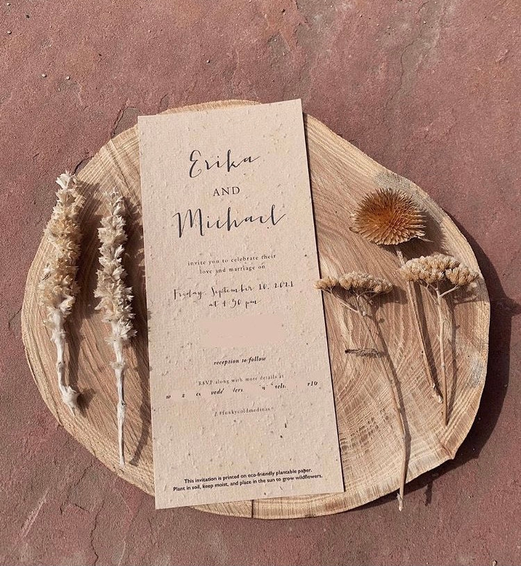 Wedding program made with seed paper by Botanical Paperworks