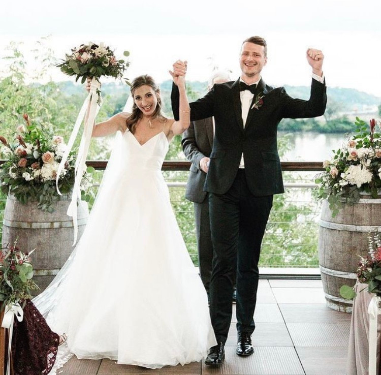 couple getting married at LEED certified DC venue, District Winery