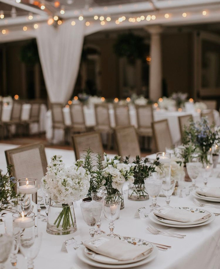 wedding tablescape with greens and neutral tones