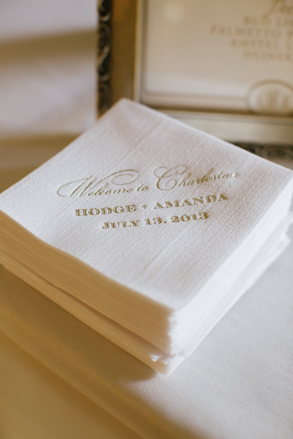 ivory colored bar napkins with wedding information