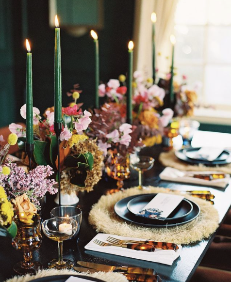 moody and boho wedding tablescape