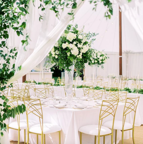 tent wedding reception with gold chameleon fanfare chairs