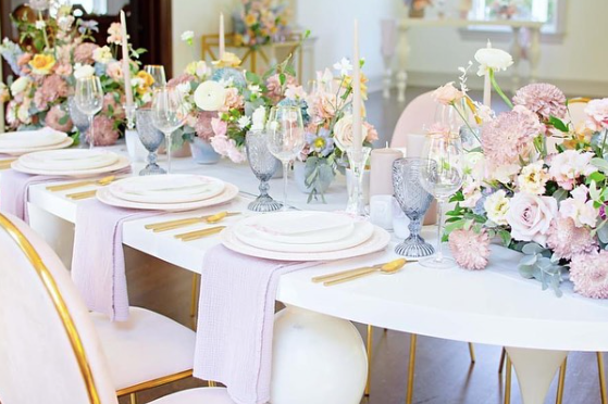 wedding tablescape with pastels