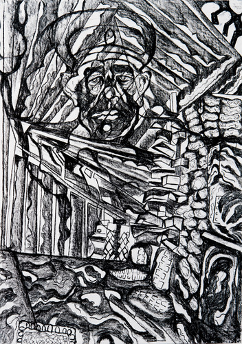 The Construction of Man (E) 2016 Charcoal on Paper