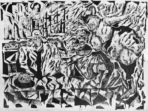 Annunciation 2014 Ink and Charcoal on Canvas