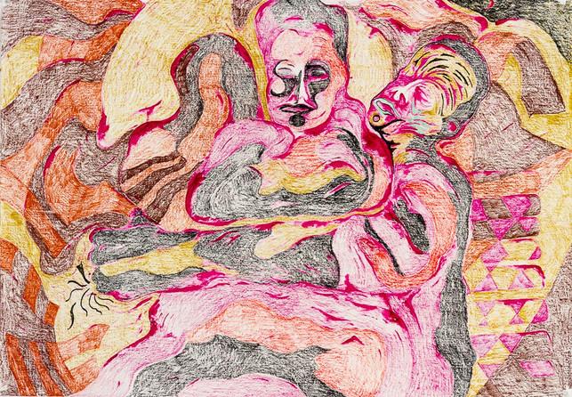 Flesh (2020) Colour pencils on paper, 10