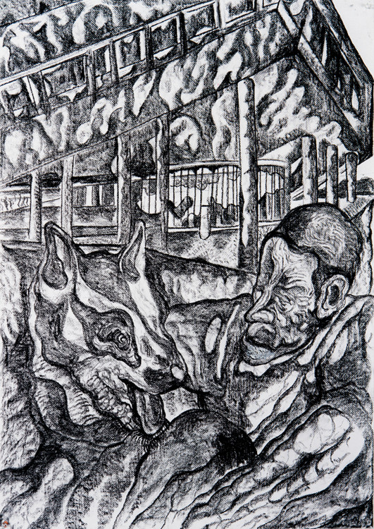 The Construction of Man (F) 2016 Charcoal on Paper