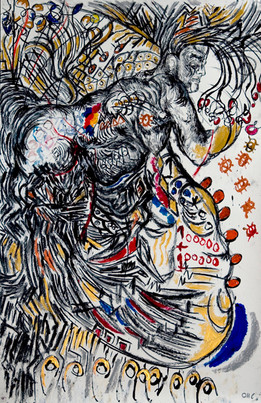 Peacock (2008) Acrylic and Charcoal on Paper