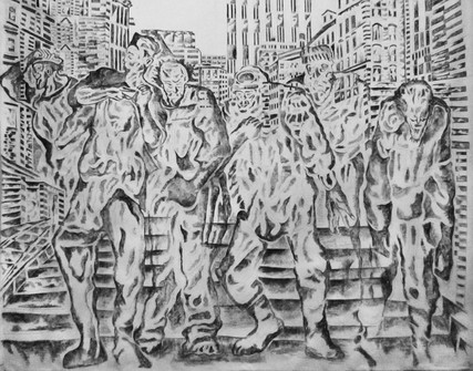 Town Square 2016 Charcoal on Fabric