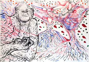 Monkey with Berries 2009 Mixed Media on Paper