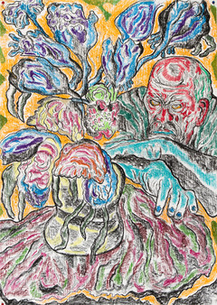 Man with Vase 2014 Pastel on paper