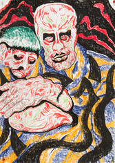 Abraham and Isaac 2014 Pastel on paper