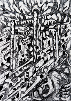 The Construction of Man (D) 2016 Charcoal on Paper