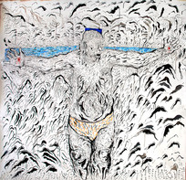 Father Crucified (2010) Ink and Acrylic on Canvas