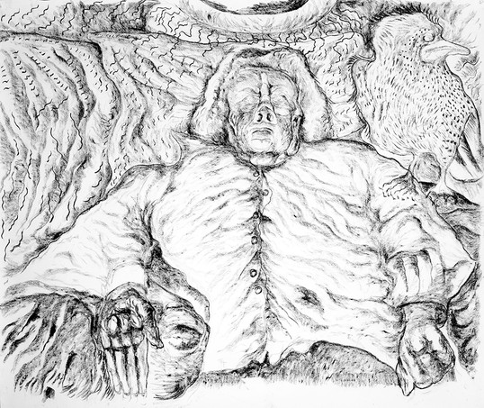 Sonia on her Deathbed (2010) Charcoal on Paper