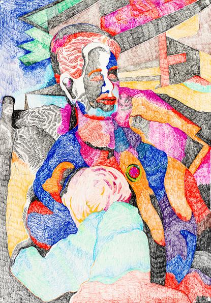 Madona with child (2020) Colour pencils