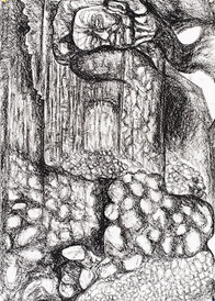 Under the Pillow Charcoal on Paper