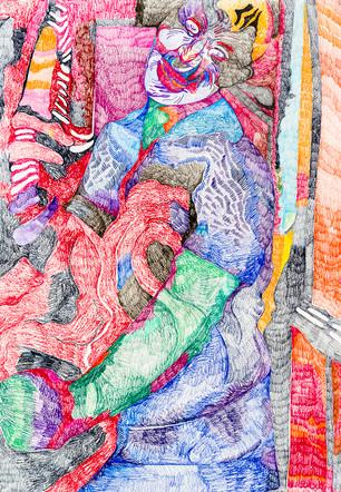 Portrait of a Lady (2019), Colour pencil