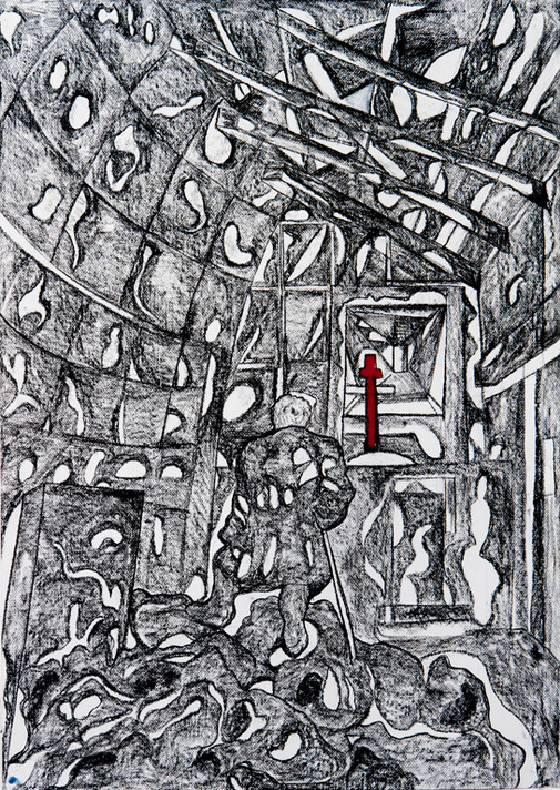 The Construction of Man (H) 2016 Charcoal on Paper