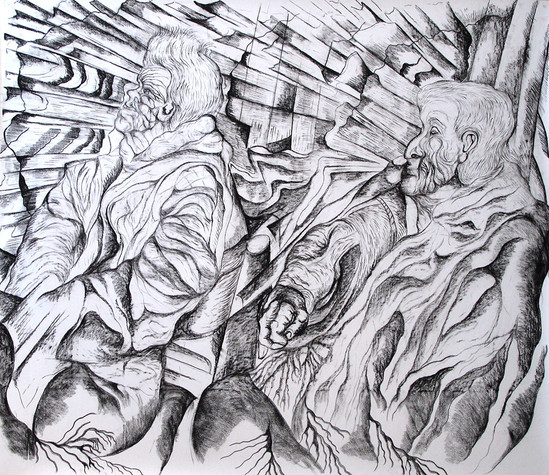 Old couple 2011 Charcoal on Paper