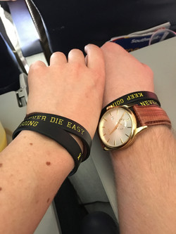 JPF Keep Going Wristband Dani and Drew Airplane to DC
