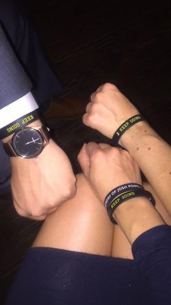 Fabi, Ty, and Dani on Birthday - JPF Keep Going Wristbands