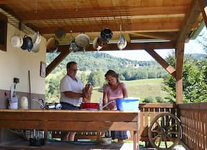 Doing Dishes with view of the Tatra