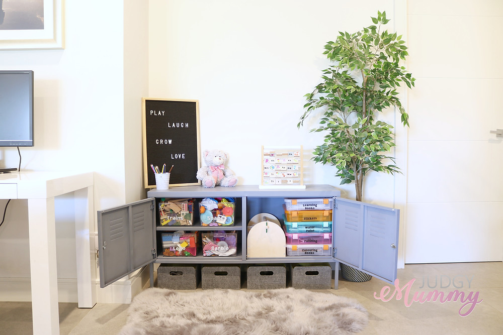 IKEA PS TV cabinet recycled to toy storage hack