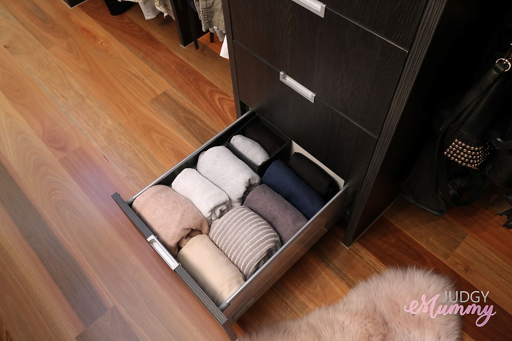 his and hers walk in robe organisation, inside drawers - nina belle, judgy mummy