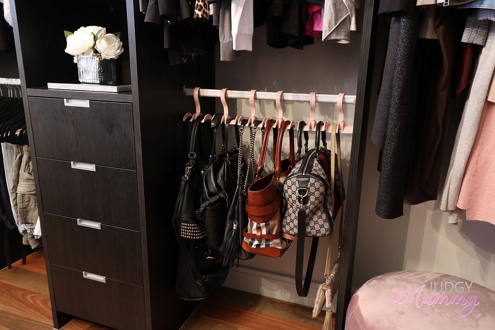his and hers walk in robe organisation, handbag storage - nina belle, judgy mummy