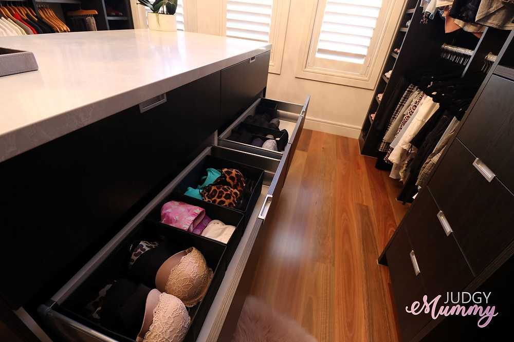 his and hers walk in robe organisation, drawer - nina belle, judgy mummy