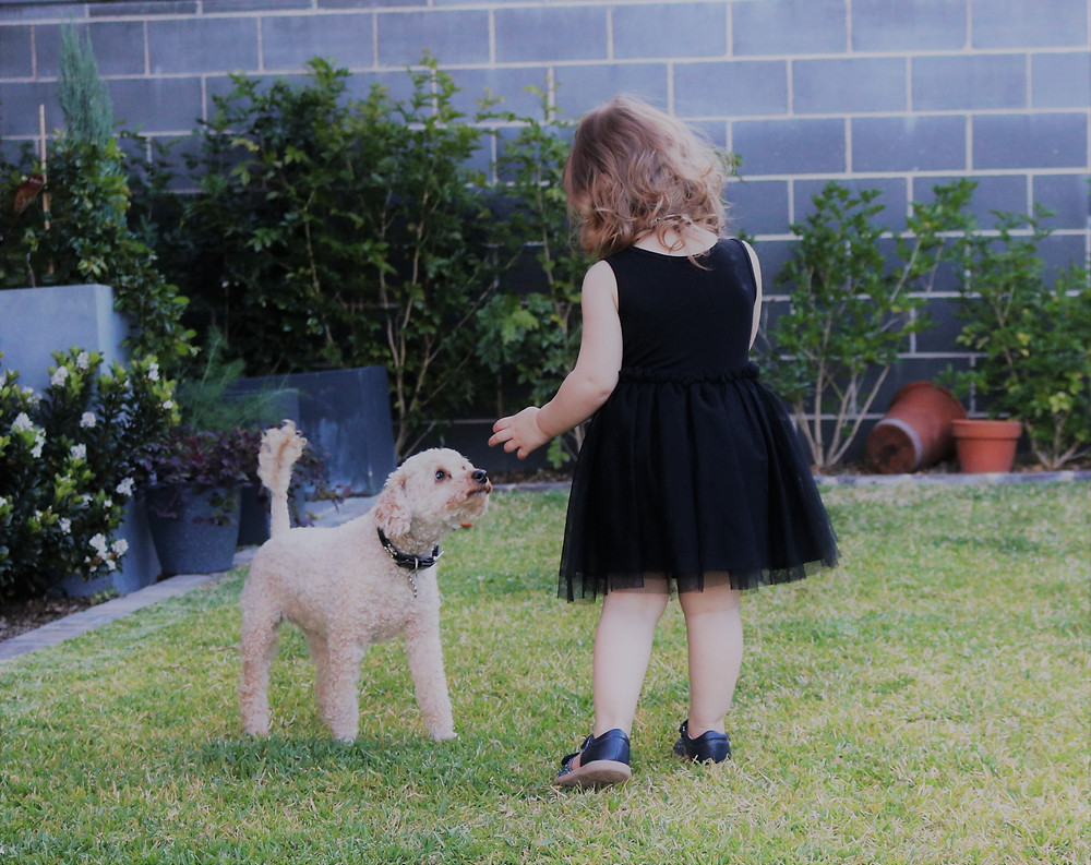 Little Miss outside with our dog Pookie