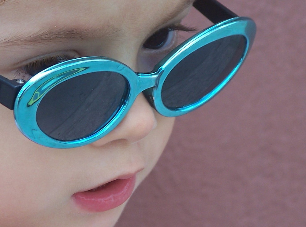 Toddler wearing sunglasses