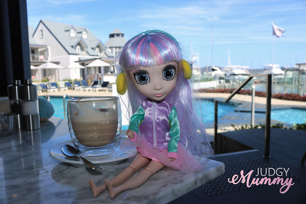 Suki, one of the Shibajuku Girls dolls at breakfast with us