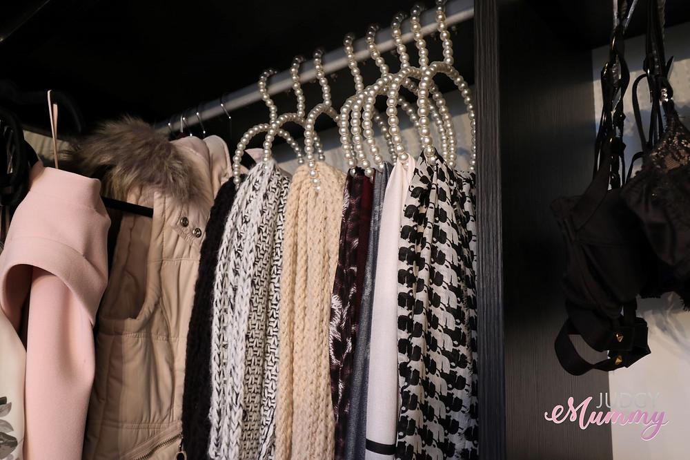 scarf organisation, pearl hangers - nina belle, judgy mummy