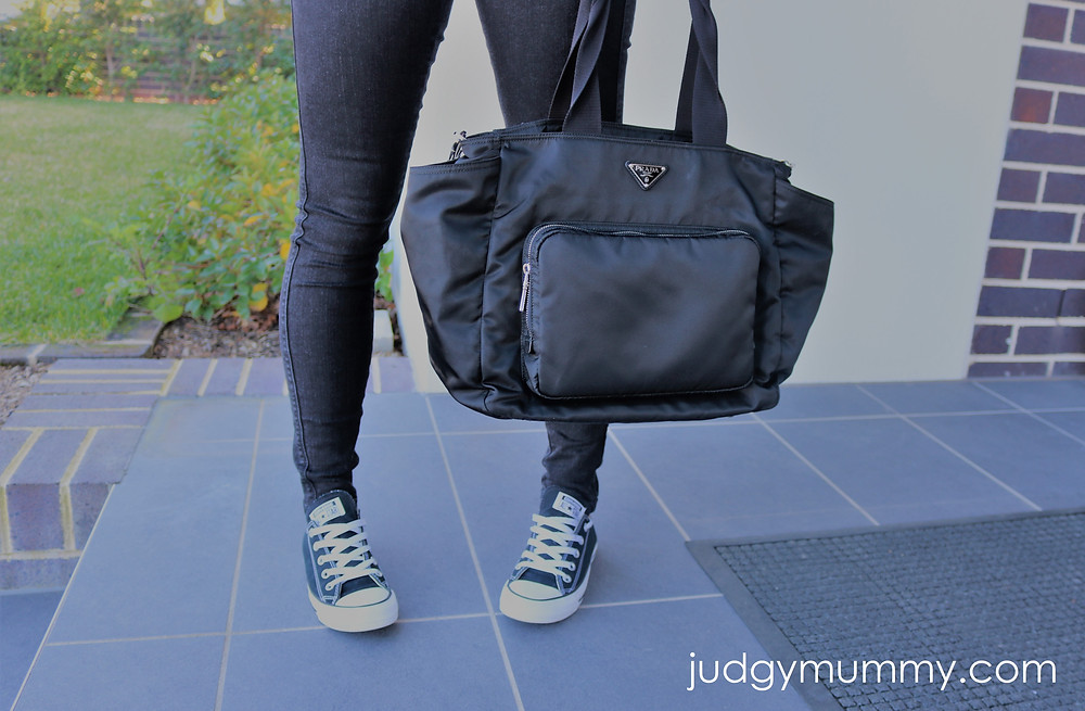 Nina Belle with her Prada baby bag