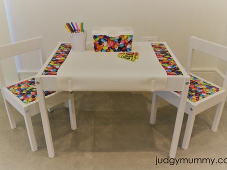 Fun jelly bean inspired revamp of the IKEA Latt kids table