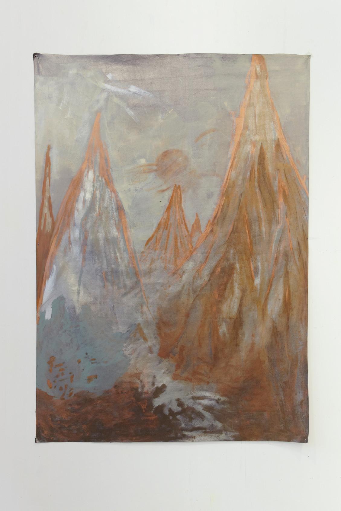 Eruption, 142 x 192 cm, enamel on sinthetic leather, 2018