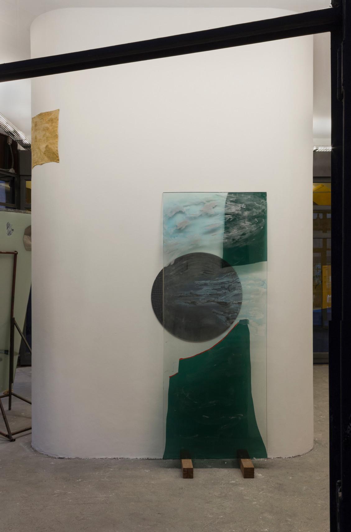The Summit, 2018 | Glass, enamel, insulfilm and mirrored acrylic | 208 x 90 cm