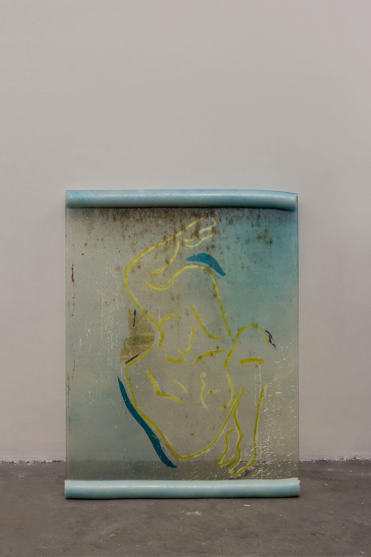 Lap, 2018 | Glass, enamel, foam | 118 x 87cm